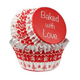 View the RED NORDIC foil lined cupcake baking cases pk 25 online at Cake Stuff