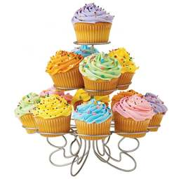View the 3 tier silver wire cupcake stand - holds 13 cup cakes online at Cake Stuff
