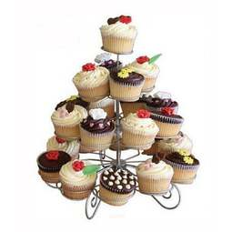 View the 4 tier silver wire cupcake stand - holds 23 cup cakes online at Cake Stuff