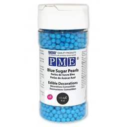 View the 4mm BLUE SUGAR PEARLS sprinkles 100g online at Cake Stuff
