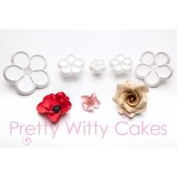 View the Five Petal Flower 5 piece fondant icing cutter set F711 online at Cake Stuff