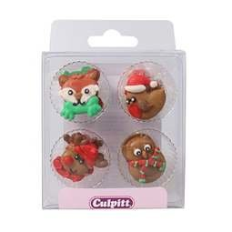 View the pk 12 WINTER FRIENDS edible icing pipings cake cupcake decorations online at Cake Stuff