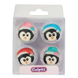 View the pk 12 CHRISTMAS PENGUINS edible icing pipings cake cupcake decorations online at Cake Stuff
