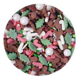 View the JINGLETTI XMAS MIX edible confetti & cupcake sprinkles 100g online at Cake Stuff
