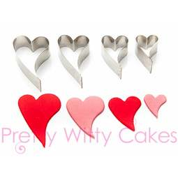 View the CURVY LOVE HEART 4 pc stainless steel icing cutter set online at Cake Stuff