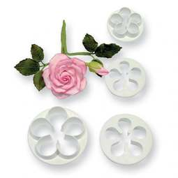 View the 4 pc 5-petal blossom icing cutter set online at Cake Stuff