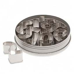 View the NUMBERS / NUMERALS 9 pc stainless steel icing cutter set online at Cake Stuff