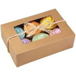 View the pk 2 KRAFT natural cupcake boxes & inserts - hold 6 online at Cake Stuff