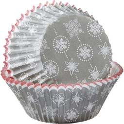 View the SILVER SNOWFLAKE cupcake cases baking cups - pk 75 online at Cake Stuff