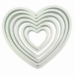 View the 6 pc HEART icing & pastry cutter set online at Cake Stuff