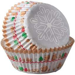 View the SNOWFLAKE WISHES cupcake cases baking cups - pk 75 online at Cake Stuff