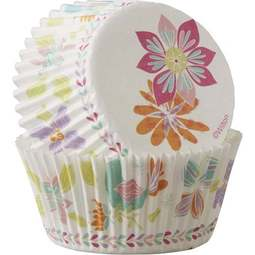 View the SPRING FLOWERS cupcake cases baking cups - pk 75 online at Cake Stuff
