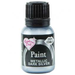 View the METALLIC DARK SILVER edible icing paint 25ml online at Cake Stuff