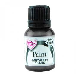 View the BLACK metallic 100% edible icing paint 25ml online at Cake Stuff