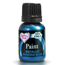 View the PEACOCK BLUE metallic edible icing paint 25ml online at Cake Stuff