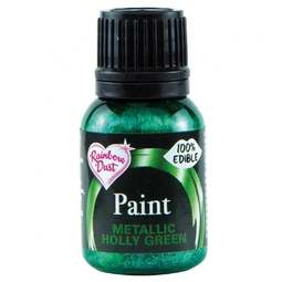View the HOLLY GREEN metallic edible icing paint 25ml online at Cake Stuff