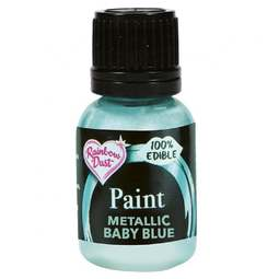 View the PEARLESCENT BABY BLUE edible icing paint 25ml online at Cake Stuff