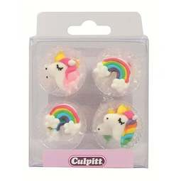 View the pk 12 UNICORN & RAINBOW edible icing pipings cake cupcake decorations online at Cake Stuff