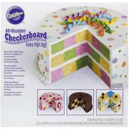View the ROUND Checkerboard 4 pc cake tin / pan set online at Cake Stuff