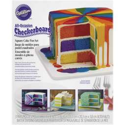 View the SQUARE Checkerboard 4 pc cake tin / pan set online at Cake Stuff