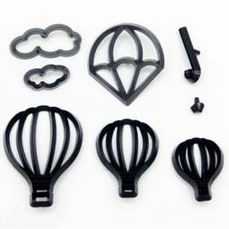 View the HOT AIR BALLOONS, UMBRELLA & PARACHUTE 8 pc icing sugarcraft cutter set online at Cake Stuff