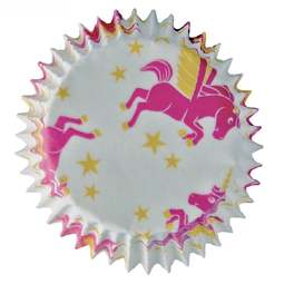 View the Unicorn small cupcake baking cases pk 25 online at Cake Stuff