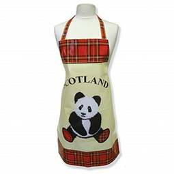 View the Tartan Giant Panda adult PVC cotton apron online at Cake Stuff