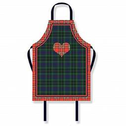 View the adults Tartan Heart PVC cotton apron online at Cake Stuff
