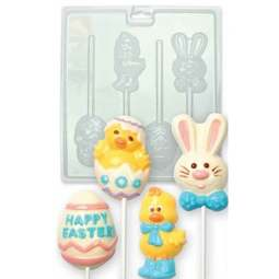 View the SPRING & EASTER chocolate & candy lolly mould set - 4 cavities online at Cake Stuff