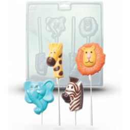 View the ANIMAL FUN chocolate & candy lolly mould set - 4 cavities online at Cake Stuff