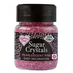 View the PINK Sugar Crystals pearlescent sparkling 100% edible sprinkles 50g online at Cake Stuff