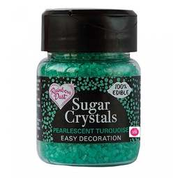 View the TURQUOISE Sugar Crystals pearlescent sparkling 100% edible sprinkles 50g online at Cake Stuff