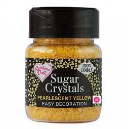 View the YELLOW Sugar Crystals pearlescent sparkling 100% edible sprinkles 50g online at Cake Stuff