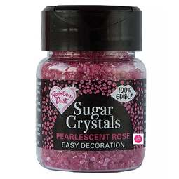 View the ROSE PINK Sugar Crystals pearlescent sparkling 100% edible sprinkles 50g online at Cake Stuff