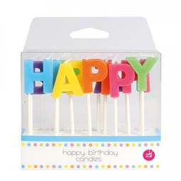 View the HAPPY BIRTHDAY 13 pc cake pick letter candle set online at Cake Stuff