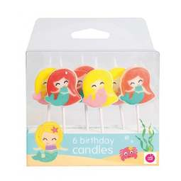 View the MERMAID 6 pc cake pick candle set online at Cake Stuff