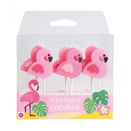 View the PINK FLAMINGO 6 pc cake pick candle set online at Cake Stuff