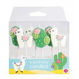 View the LLAMA & CACTUS 6 pc cake pick candle set online at Cake Stuff