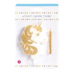 View the UNICORN novelty shaped birthday cake candle holder & horn candle online at Cake Stuff