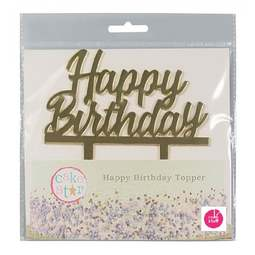 View the gold HAPPY BIRTHDAY plastic cake topper decoration pick online at Cake Stuff