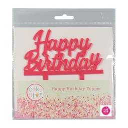 View the pink HAPPY BIRTHDAY plastic cake topper decoration pick online at Cake Stuff