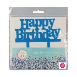 View the blue HAPPY BIRTHDAY plastic cake topper decoration pick online at Cake Stuff