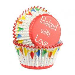 View the PRIMARY BUNTING foil lined cupcake baking cases pk 25 online at Cake Stuff