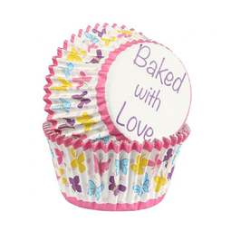 View the BUTTERFLY foil lined cupcake baking cases pk 25 online at Cake Stuff