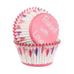 View the PINK BUNTING foil lined cupcake baking cases pk 25 online at Cake Stuff