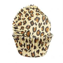 View the LEOPARD PRINT foil lined cupcake baking cases pk 25 online at Cake Stuff