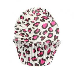 View the PINK LEOPARD PRINT foil lined cupcake baking cases pk 25 online at Cake Stuff