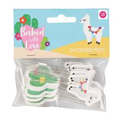 View the LLAMA & CACTUS cupcake pick decorations pk 24 online at Cake Stuff