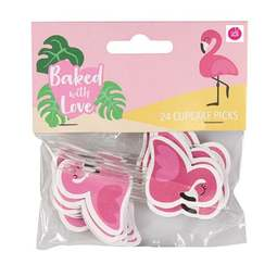 View the FLAMINGO cupcake pick decorations pk 24 online at Cake Stuff