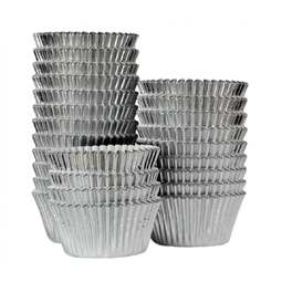 View the bulk pack 375 SILVER FOIL professional muffin baking cases online at Cake Stuff